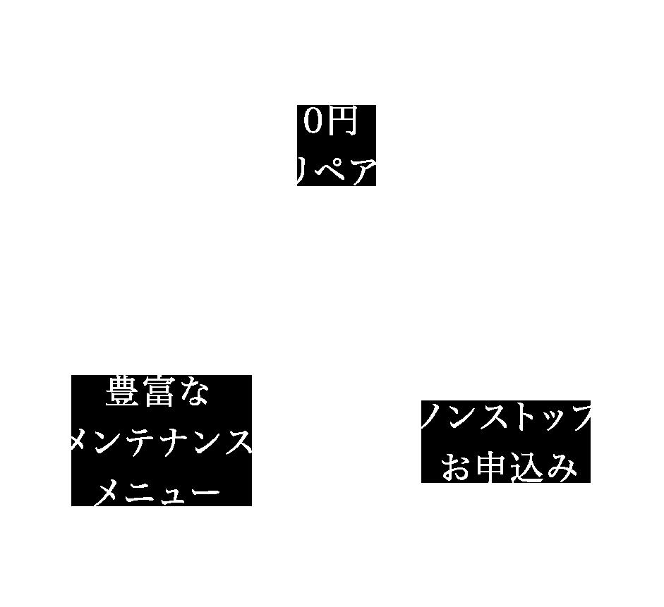 0円リペア、豊富なメンテナンスメニュー、ノンストップお申し込み